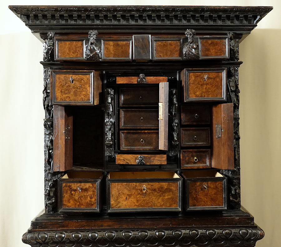 carved-walnut-cabinet-Genoa-stipo-bambocci-17th-18th-century