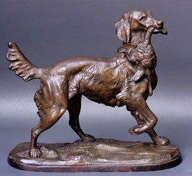 Sculpture-animaliere-setter-perdrix-bronze-chasse-Cana