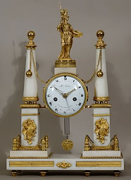 Portico-Clock-at-the-Minerve-Gilt-bronze-white-marble-signed-Coliau-Louis-XVI-period