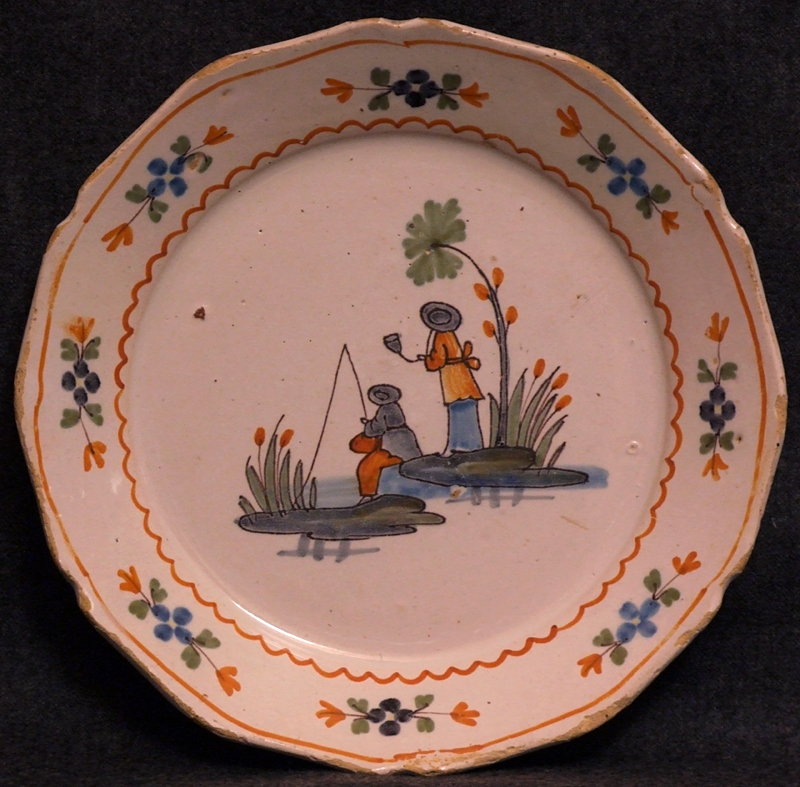 Assiette en faience de nevers au pecheur chinois for Assiette de decoration
