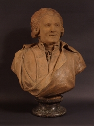 Terra-cotta-bust-statue-of-an-officer-dated-1784-signed-Monot
