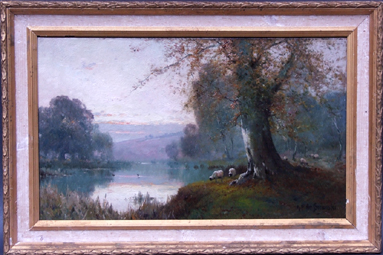 Painting-Early-morning-Burnham-beeches-Huile-sur-toile-signee-Alfred-Fontville-de-Breanski-English-school
